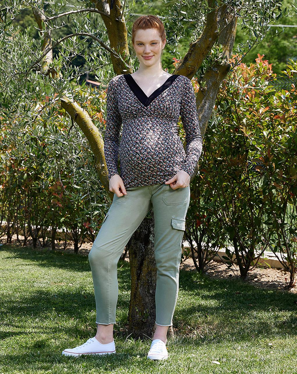 Pantalone premaman in twil con fascia alta in vita - Prénatal