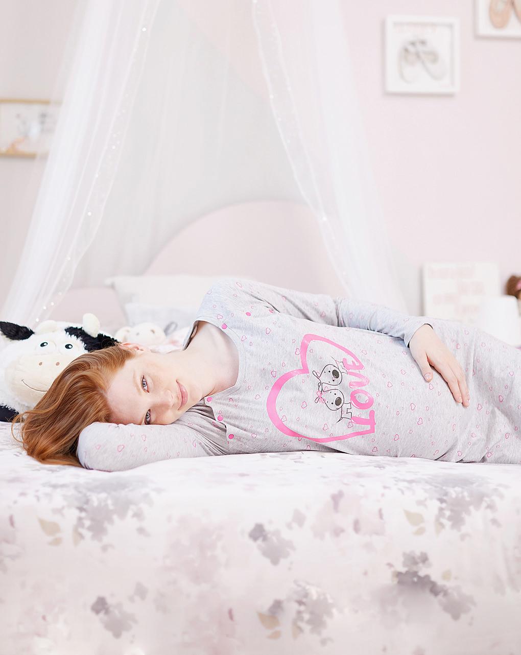 Camicia da notte premaman allattamento love print - Prénatal