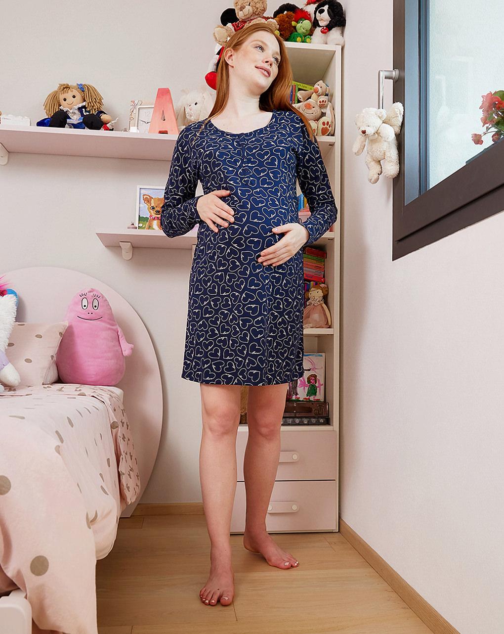 Camicia da notte premaman allattamento fantasia cuori - Prénatal
