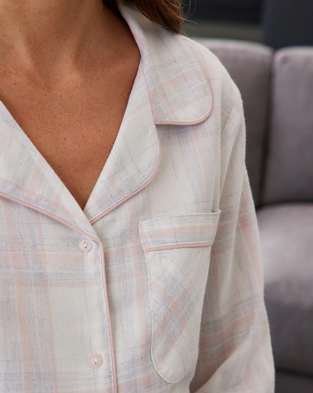 Camicia da notte premaman allattamento in twill di flanella - Prénatal