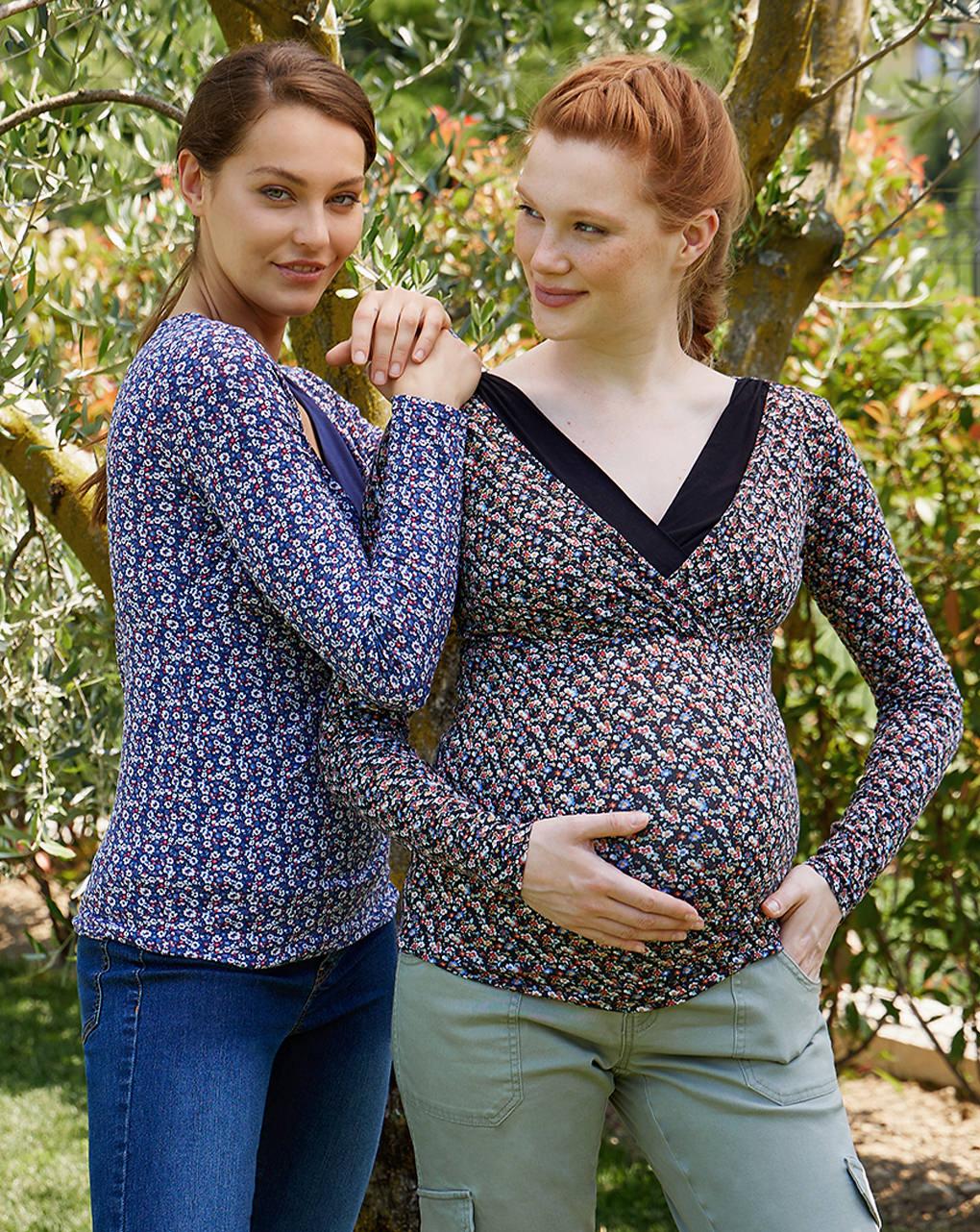 T-shirt premaman allattamento fantasia floreale - Prénatal