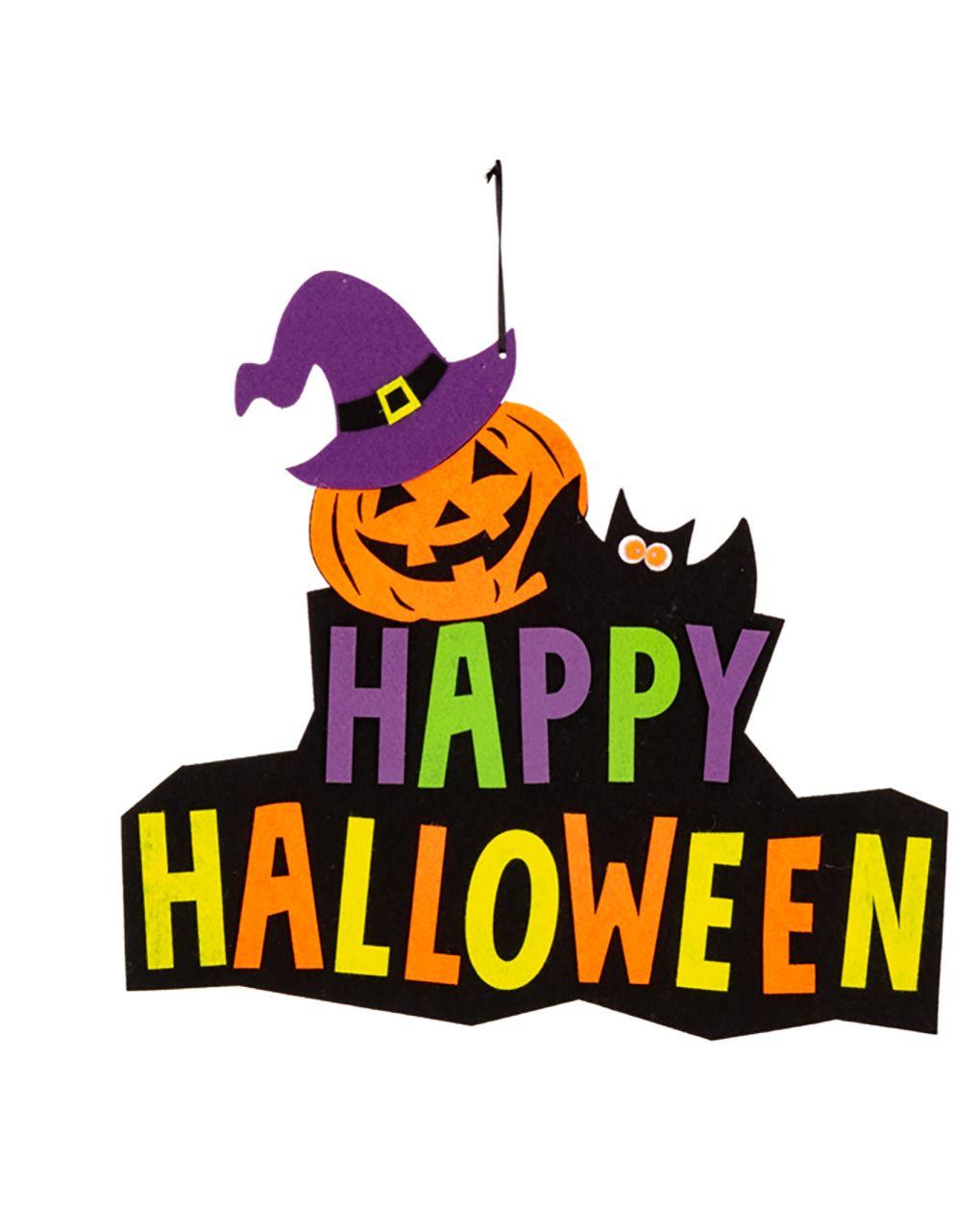 Decorazione happy halloween in feltro d'appendere - Carnival Toys