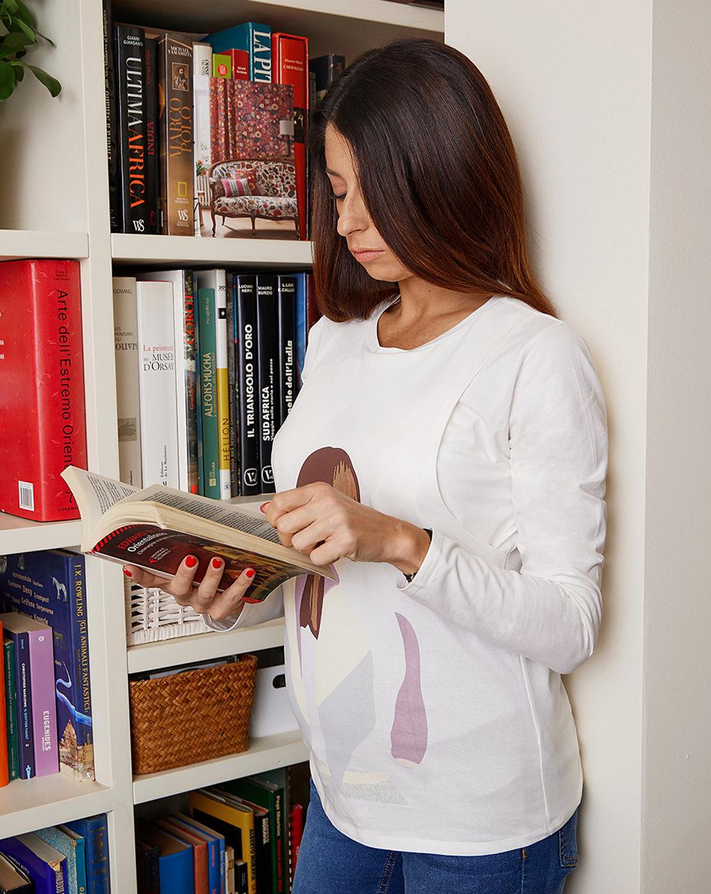 T-shirt premaman allattamento con stampa - Prénatal