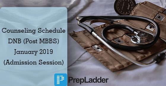 DNB (Post MBBS) January 2019: Counseling Schedule