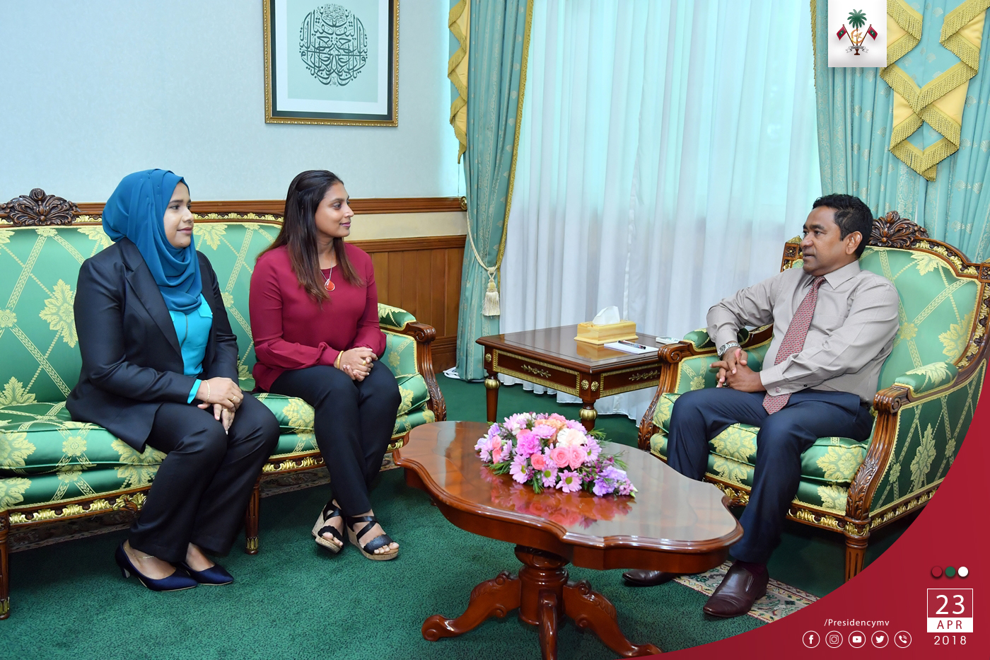 President meets with the first PhD graduates from the