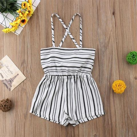 Summer Kid Baby Girl Off Shoulder Flower Romper Jumpsuit Trousers Casual Clothes