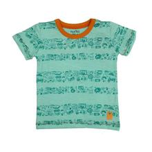 Green Printed Cotton T-Shirt For Boys - (131246515250)