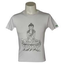 White 'Buddha' Printed T-Shirt For Men