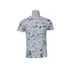 Blue/White cotton Tie Dye T-Shirt For Men
