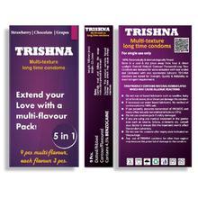 Trishna Long Time Multi Texture Multi Flavour Dotted Condoms (Strawberry,Chocolate,Grape) - 9 Pcs