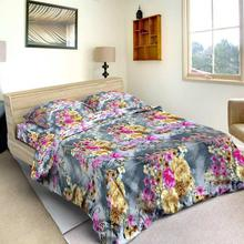 Multi Colored Flower Printed Bed Sheet With 2 Pillow Covers And Blanket Cover