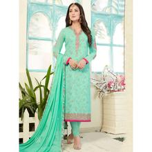 Stylee Lifestyle Green Georgette Embroidered Dress Material (1768)