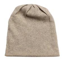 Beige Solid 100% Cashmere Cap