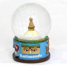 Bouddhanath Glass/Ceramic Snow Globe - Blue