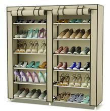 Double Row 2 x 6 Layer Shoe Rack Storage Shelf Organizer with Non-Woven Fabric Cover (Color Vary)