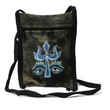 Black/Cream Hemp Trishul Embroidered Sling Bag For Women