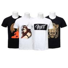Combo Of 4 Cotton Printed T-Shirts For Men - Black / White