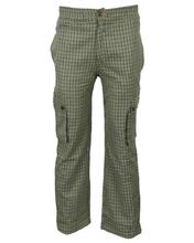 Green/Beige Checkered Causal Pants For Men - MTR3064