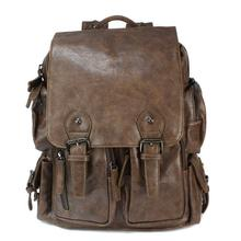 Coffee Leather Fashion Unisex Backpack