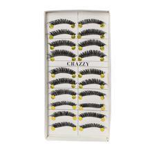 Black Handmade Natural Eyelashes For Women Set - 10 Pairs (Eyelash 834)