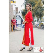 Red Double Layer Long Kurti With For Women