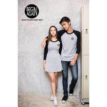 Begin Again Grey/Black Set Of T-shirt And Dress For Couples - (CBA-02)