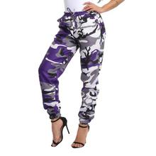 Women Sports Camo Cargo Pants Outdoor Casual Camouflage Trousers