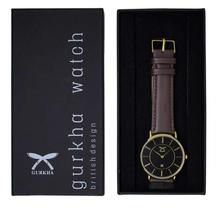 Gurkha Unisex Watch in Black Dial and Coffee Brown Leather Strap
