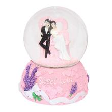 Pink Sweet Love Wedding Couple Water Globe