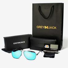 GREY JACK Black/Silver Framed With Ice Blue Lens Polarized Aviator Sunglasses (Unisex) - P0978