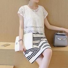 Nursing Clothes Dresses with Lace Patchwork Striped Vestidos for Maternity O Neck Short Sleeve Summer Jurken Breastfeeding M-XL