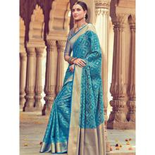 Stylee Lifestyle Full Traditional Jacquard Woven Design With Jacquard Blouse Blue Saree with Blue Blouse for Wedding, Party and Festival