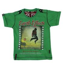 Green 'Earth Effects' Printed T-Shirt For Boys