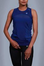 Sapphire Blue Cotton Pulse Tank Top For Women