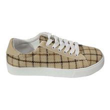 Light Brown Chequered Casual Lace Up Shoes For Women - 210