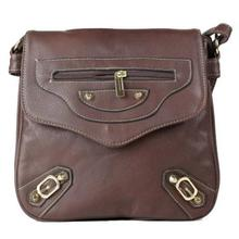 Chocolate Brown Front Zipper Sling Bag