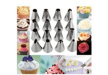 12 Piece Cake Decorating Set Frosting Icing Piping Bags Tips With Steel Nozzles Reusable And Washable