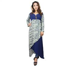 Melange Navy Flared Printed Long Khurti