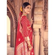 Style Lifestyle Designer Banarasi Red Saree with Elegant Traditional Design With Jari & Woven Border with Red Blouse for Wedding, Party and Festival