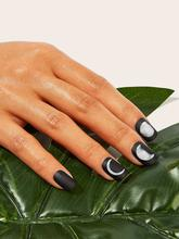 Moon Pattern Fake Nail With Double Side Tape 25pack