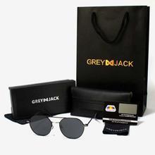 GREY JACK Black Framed With Black Lens Polarized Round Aviator Sunglasses (Unisex) - S1227