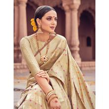 Style Lifestyle Designer Banarasi Beige Saree with Elegant Stripe Design With Jari & Woven Border with Beige Blouse for Wedding, Party and Festival
