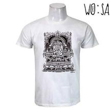 White Printed Round Neck Cotton T-Shirt For Men
