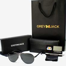 GREY JACK Black Framed Polarized Classic Aviator Sunglasses (Unisex)