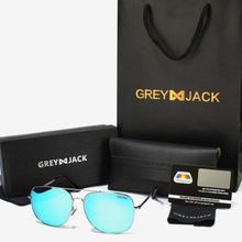 GREY JACK Metal Framed Polarized Acqua Round Aviator Sunglasses (Unisex)