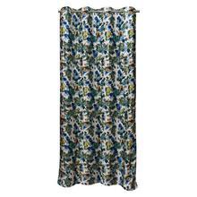 Multi Blue Floral Long Crush Patch Curtains