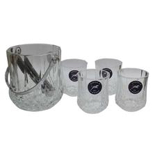 Glass Ice Bucket Set - 4 Pcs. Glass & 1 Bucket
