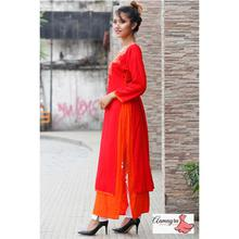 Red Double Layer With Mirror Work For Women