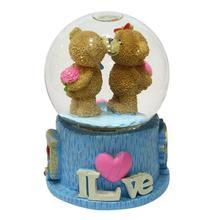 Brown Couple Teddy Bears Water Globe Showpiece