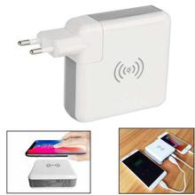 3-in-1 Wireless Mobile Phone USB Charger Adapter, Power Bank (EU Plug)